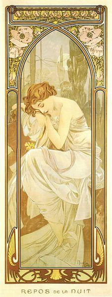Tijden van de Dag: Nacht Rust - Art Nouveau Schilderij Mucha Jugendstil van Alphonse Mucha