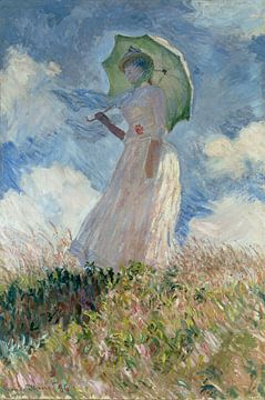 Frau mit Sonnenschirm, Claude Monet von Meesterlijcke Meesters