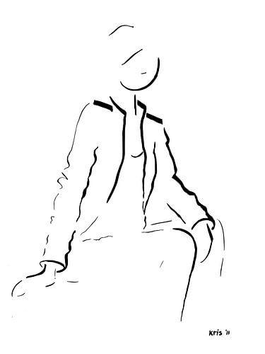 inkt tekening vrouw zittend van