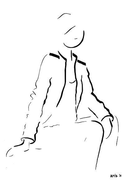 inkt tekening vrouw zittend van Kris Stuurop