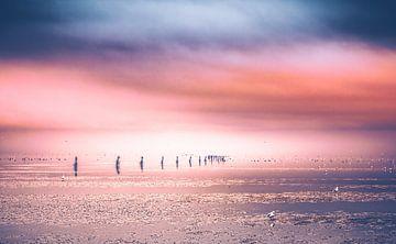 Strand von Cuxhaven an der deutschen Nordseeküste.  Foto bei Ebbe mit Kugelbake und Wellenbrecher von Jakob Baranowski - Off World Jack