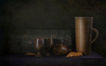 Nature morte avec valise et tasses. sur Danny den Breejen
