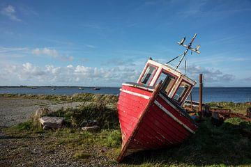 Rotes Fischerboot an der Küste in Irland von Bo Scheeringa