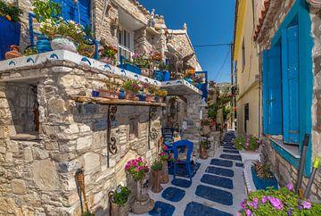 Straat in Pythagorion - Samos van Rinus Lasschuyt Fotografie