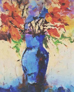 Blaue Vase mit Blumen von Angel Estevez