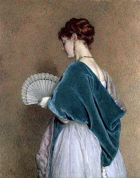 Frau mit einem Fächer - John Dawson Watson, 1871