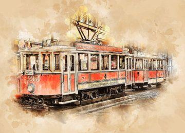 Historische tram in Praag van Peter Roder