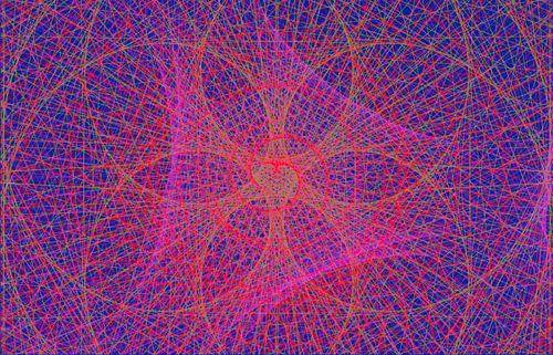 Lijnenspel, rood, roze en paars