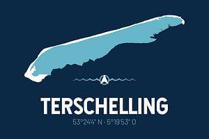 Terschelling | Design kaart | Silhouet | Minimalistische kaart van ViaMapia