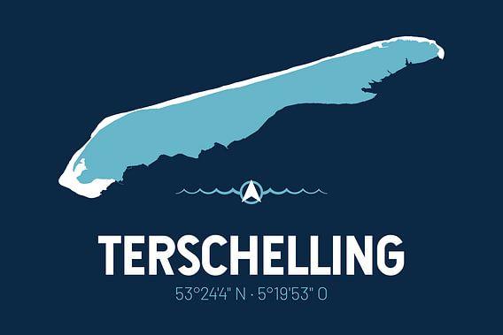 Terschelling | Design kaart | Silhouet | Minimalistische kaart