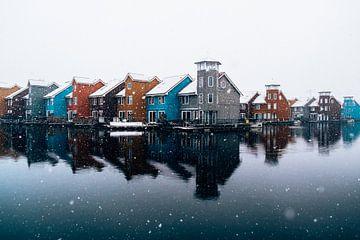 Reitdiephaven Groningen Niederlande im Schnee von Marion Stoffels
