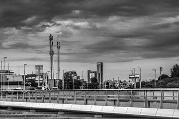 Vue de la ville de Leeuwarden depuis le tunnel Maragaretha Zelle.