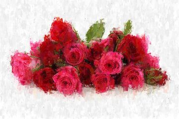 Een bos rode rozen van Theodor Decker