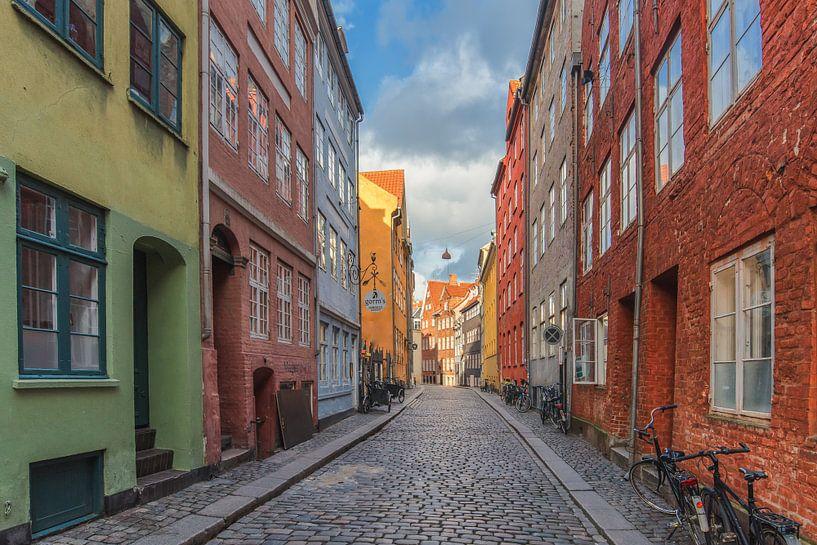 gekleurde huizen in een straat in Kopenhagen. van Robin van Maanen