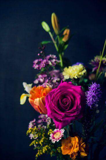 Kleurige roos van Wendy Bos
