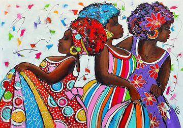 Curacao kleurrijke dansende dames van Vrolijk Schilderij