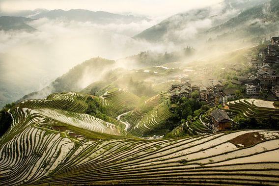 Ping'An rijstvelden in de mist van Lilian Heijmans