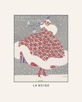 La neige - Winter, sneeuw, vintage art deco mode prent van NOONY