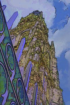 Grote Kerk in Breda als cartoon van Ton Boertien