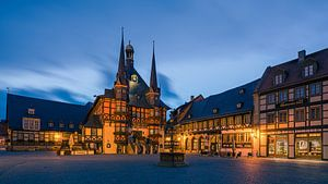 Het beroemde stadhuis in Wernigerode, Harz, Saksen-Anhalt, Duitsland