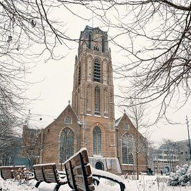 Der Grotekerkplein im Schnee von Paul Poot
