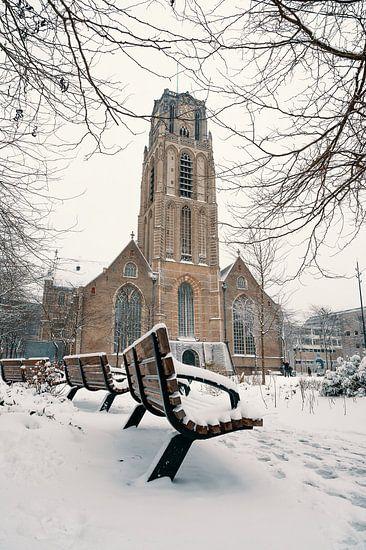 La Grotekerkplein dans la neige
