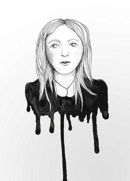 Blond druppelmeisje van Bianca Wisseloo