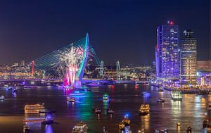 Het vuurwerk tijdens de Wereldhavendagen 2018 in Rotterdam