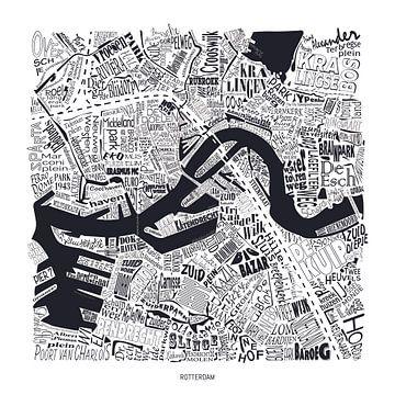 Carte de Rotterdam comme une carte avec les noms de rue sur Vol van Kleur