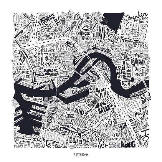 Kaart van Rotterdam als plattegrond met straatnamen
