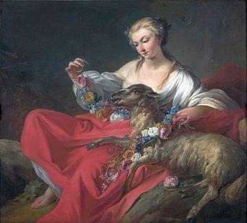 Das Lieblingslamm, Jean-Baptiste Marie Pierre - 1758 von Atelier Liesjes