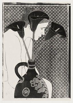 Vrouwelijk naakt achter vaas met aronskelken, Samuel Jessurun de Mesquita (1912) van Atelier Liesjes