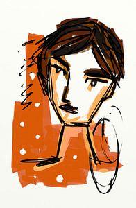 Mädchen Orange 2 von Jolanda Janzen-Dekker