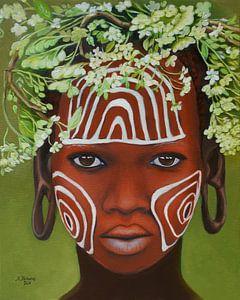 Une beauté africaine avec une coiffe