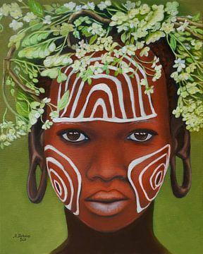Une beauté africaine avec une coiffe sur Marita Zacharias