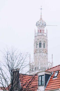 Winter Beaconesser-Kirche hinter dem Kanalhaus in Haarlem von Simone Neeling