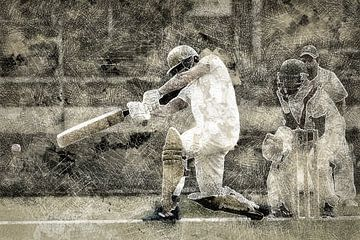 Cricket Sport Art Batter HCC Den Haag van Frank van der Leer