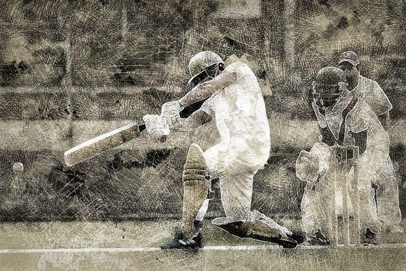 Cricket Sport Art Batter HCC Den Haag von Frank van der Leer