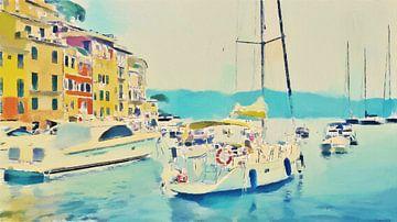 Boten bij Portofino - Italie - Jetset - Italiaanse Riviera - Schilderij