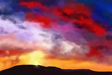 Kleurrijk schilderij van een landschap van Tanja Udelhofen