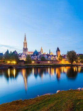Ulm aan de Donau bij nacht van Werner Dieterich