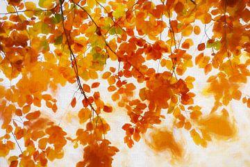 Herfstbladeren in schilderij stijl