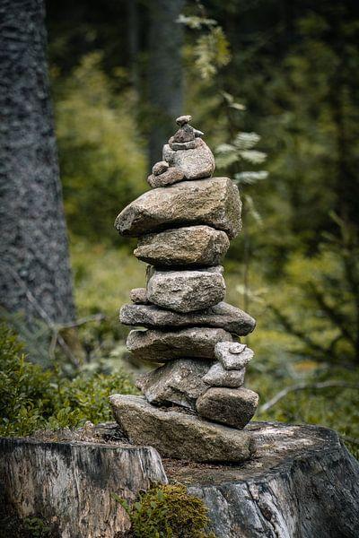 Steinpyramiden im Wald von Thilo Wagner