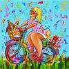 Dame op de fiets van Vrolijk Schilderij thumbnail