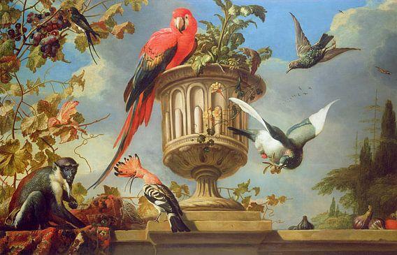 Scharlaken ara op een urn, met andere vogels en een aap die druiven eet, Melchior d'Hondecoeter