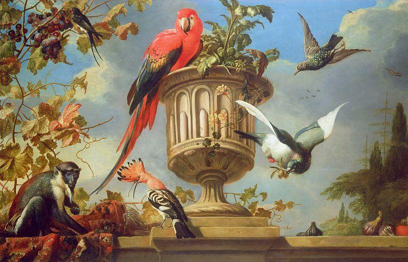 Scharlaken ara op een urn, met andere vogels en een aap die druiven eet, Melchior d'Hondecoeter van Bridgeman Masters
