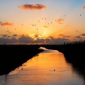 Zonsondergang Nederlands landschap Eempolder van Mark de Weger