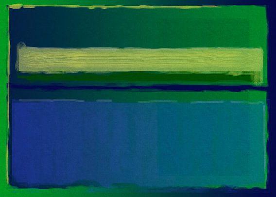 Abstract schilderij met groen en blauw van Rietje Bulthuis