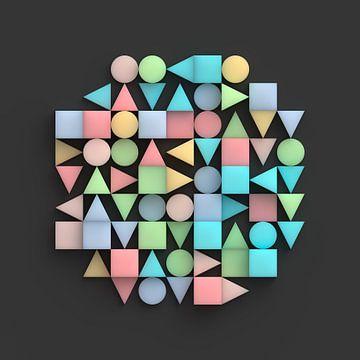 Relief aus geometrischen Körpern