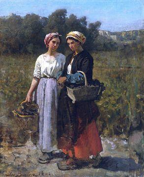Jules Breton, Twee jonge vrouwen in wijnoogst - 1862 van Atelier Liesjes